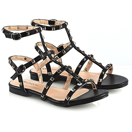 Essex Glam Donna Nero Gladiatore Fibbia Costellato Pelle Le Sintetica Piatto Sandali Signore Aperto Scarpe rrAwq