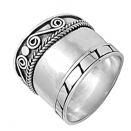 (Swirl Rope Block Bali Design Sterling Silver Womens Ring Size 9)