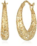 14k Yellow Gold with Micro-Filigree Texture Hoop Earrings