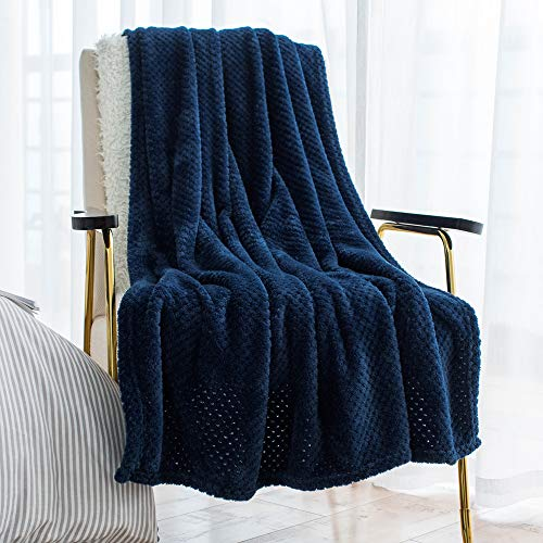 LEWONDER Throw Blanket for Sofa Couch, Flannel Plush Soft Blanket,Light Weight,Navy Blue, 5060in