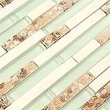Backsplash Tile White Stone Mosaic Beach Style Glass Conch Tiles Carrara Marble Tiles Kitchen aqua Bathroom Wall Materials (1PCS Small Sample 2.8x5.9 Inches)