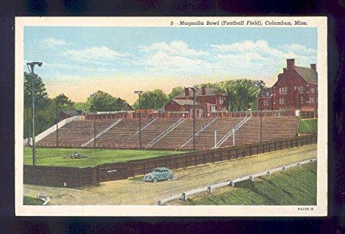 linen football postcard MAGNOLIA BOWL FOOTBALL FIELD COLUMBUS MISS stadium