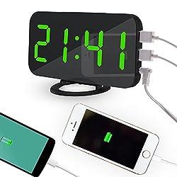 OXOQO LED Digital Alarm Clock - USB Powered, No Frills Simple Operation, Large Night Light, Alarm, Snooze, Full Range Brightness Dimmer, Black Background, Big Digit Display Screen