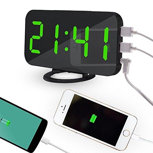 Green Set Clock - OXOQO LED Digital Alarm Clock - USB Powered, No Frills Simple Operation, Large Night Light, Alarm, Snooze, Full Range Brightness Dimmer, Black Background, Big Digit Display Screen