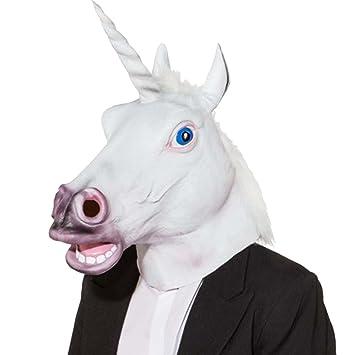 NET TOYS Máscara Unicornio Careta Unicornio Antifaz Caballo con Cuerno Accesorio Disfraz ser mitológico Complemento Disfraz