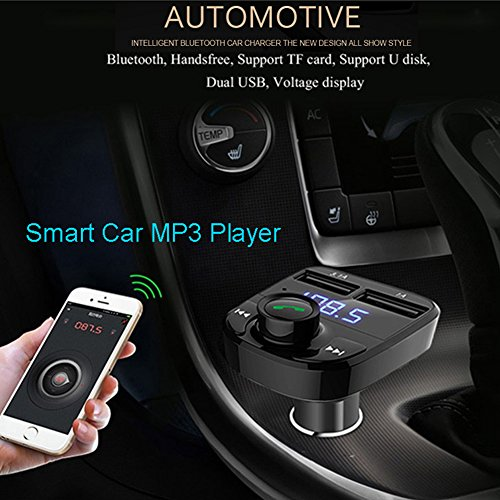 FM Transmitter Wireless Bluetooth FM Transmitter Car Kit Radio Adapter Receiver 4.2A USB Car Charger MP3 Music Player Read Micro SD Card USB Flash Drive and Battery Voltage by JINSERTA (Image #6)