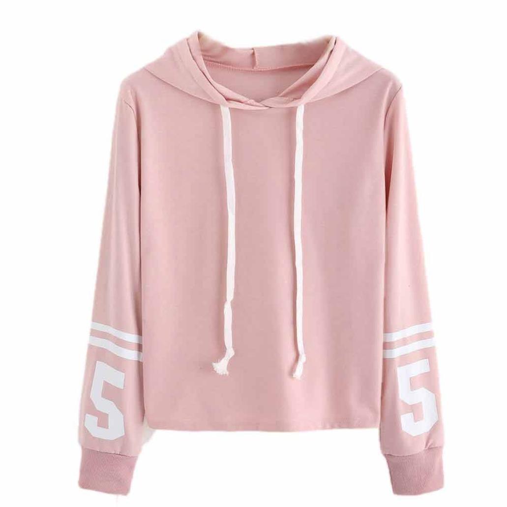 YANG-YI HOT Women Hoodie Sweatshirt Jumper Sweater Crop Top Pullover Cotton Tops