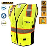 KwikSafety Class 2 Executive Deluxe Safari Safety Vest | Construction Security Motorcycle Bicycle Traffic Emergency | Lightweight High Visibility Reflective for both Men & Women | Yellow L/XL