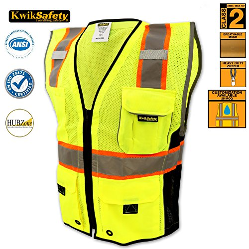 Deluxe Vest Pocket (KwikSafety Class 2 Executive Deluxe Safari Safety Vest | Construction Security Motorcycle Bicycle Traffic Emergency | Lightweight High Visibility Reflective for both Men & Women | Yellow)