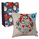 DolphineShow Merry Christmas Throw Pillow Covers 18x18 Cotton Linen Bowknot Pattern Sofa Decorative Simple Square Cushion with Gift Bag