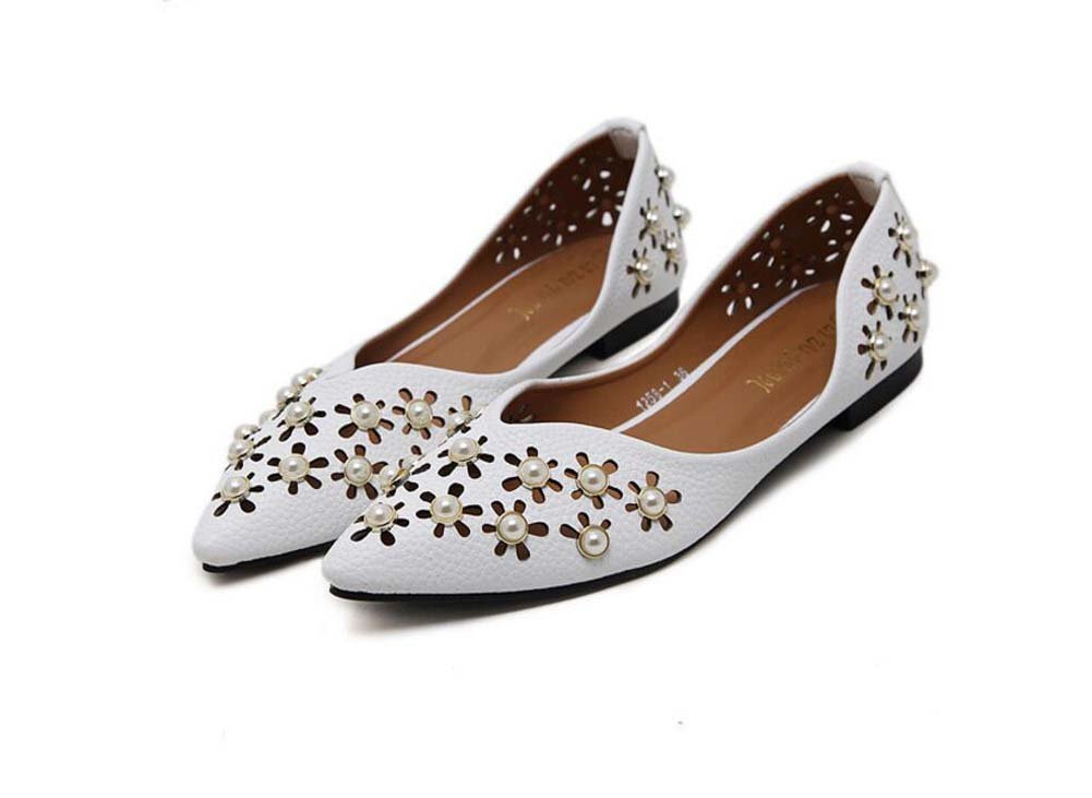 Pumpen-Slip auf Ballerina-Flats Frauen Spitz Zeh Hohl Perle reine Farbe flache Schuhe eu Größe 35-39