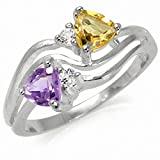 Natural Amethyst, Citrine & White Topaz 925 Sterling Silver Ring