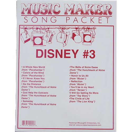 Disney #3 songsheet packet for the Music Maker - Music Maker Song Sheets