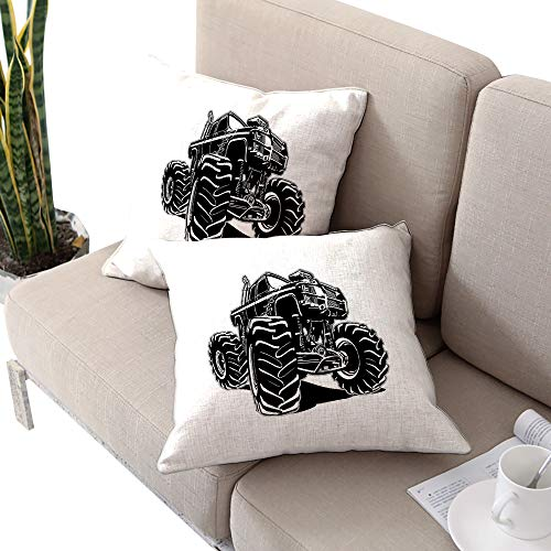 Alexandear Truck Square Square Euro Sham Cushion Cover,Modified Automobile Monochrome Sketch Pattern Monster Pickup Truck Off Road Vehicle Black White Cushion Cases Pillowcases for Sofa Bedroom -