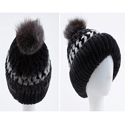 Yanxh Del Cabeza Esquí Mujeres Las Sombrero La Caliente Paquete Fur El De Armadura Invierno Negro Manera Cuidado Faux Guarde Oído rrOEqwC4