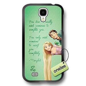 Cartoon Movie Disney Tangled Princess Rapunzel Soft Rubber(TPU) Phone Case & Cover for Samsung Galaxy S4 - Black