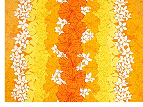 ハワイアンファブリック 生地 【イエロー/オレンジ・プルメリア】 7150の商品画像