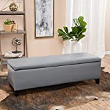 Modern Faux Leather Upholstery Storage Bench with Solid Wood Frame - Includes Modhaus Living Pen (Gray)