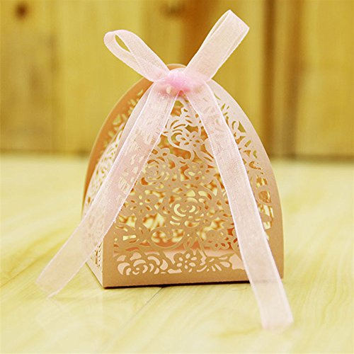 Kslong 50pcs Rose Hollow Paperboard Favor Boxes Foldable Laser Candy Box Packaging Chocolate Bags Wedding Boxes (Pink) (Stripe Chocolate Stack)