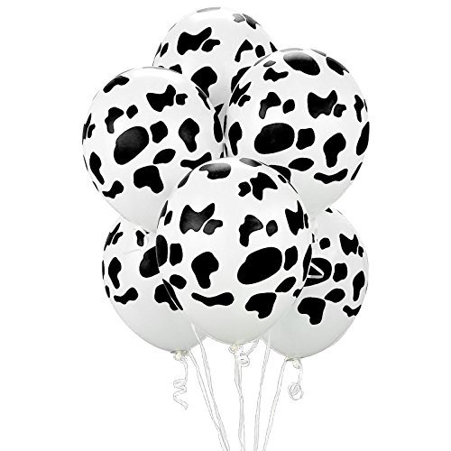 Barnyard Farm Animal Childrens Birthday Party Supplies - Cow Print Latex Balloon (6)