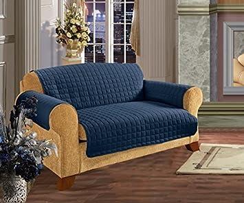 Amazon.com: Elegance Linen Quilted Pet Dog Children Kids Furniture  Protector Microfiber Slip Cover Sofa, Navy Blue: Home U0026 Kitchen