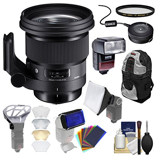 Sigma 105mm f/1.4 Art DG HSM Lens with USB Dock + Filter + Backpack + Flash & Diffusers + Kit for Nikon DSLR Cameras