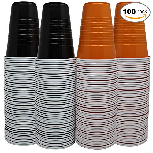 100 Large Halloween Themed Plastic Cups - 50 Orange & 50 Black - Perfect for Beer Pong - House Parties - BBQ?s Etc