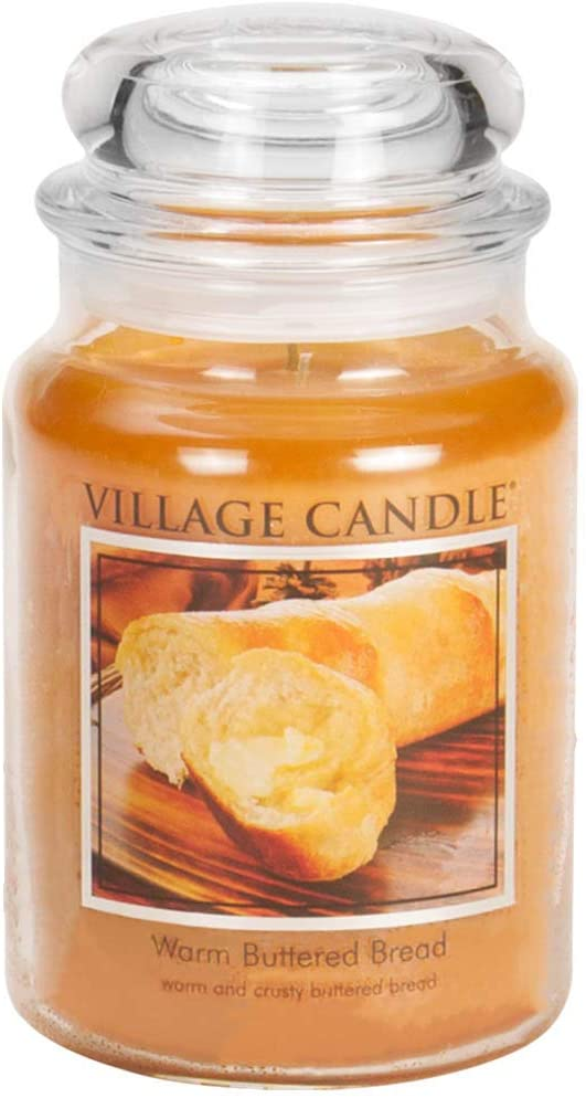 Village Candle Warm Buttered Bread Large Glass Apothecary Jar Scented Candle, 21.25 oz, Brown