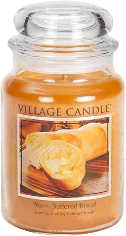 Village Candle Warm Buttered Bread Large Glass Apothecary Jar Scented Candle 21 25 Oz Brown Amazon Ca Home Kitchen