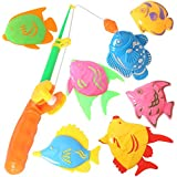 7PCS Fish Magnetic Fishing Toys Colorful Magnet Fishing Game with Fishing Rod and Net for Kids Toddlers