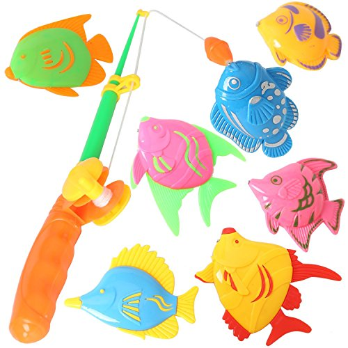 7PCS Fish Magnetic Fishing Toys Colorful Magnet Fishing Game with Fishing Rod and Net for Kids Toddlers (Bathtub Fish)