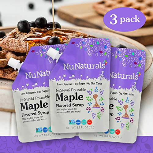 NuNaturals Maple Flavored Sugar-Free Pourable Syrup, 0 Net Carbs (Maple Syrup 3 Pack, 6.6 oz)