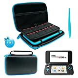 3 in 1 Protective Kit for Nintendo 2DS XL - EVA Storage Bag with Stylus,2 Screen Protector Film and 8 pcs game card cases - Black