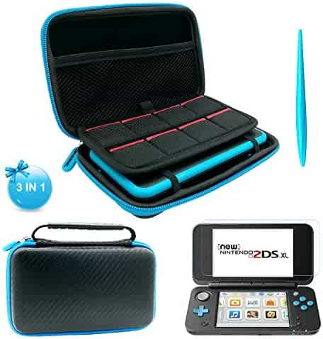 3 in 1 NEW Nintendo 2DS XL Case - EVA Storage Bag with Stylus,2 Screen Protector Film and 8 pcs game card cases - Black