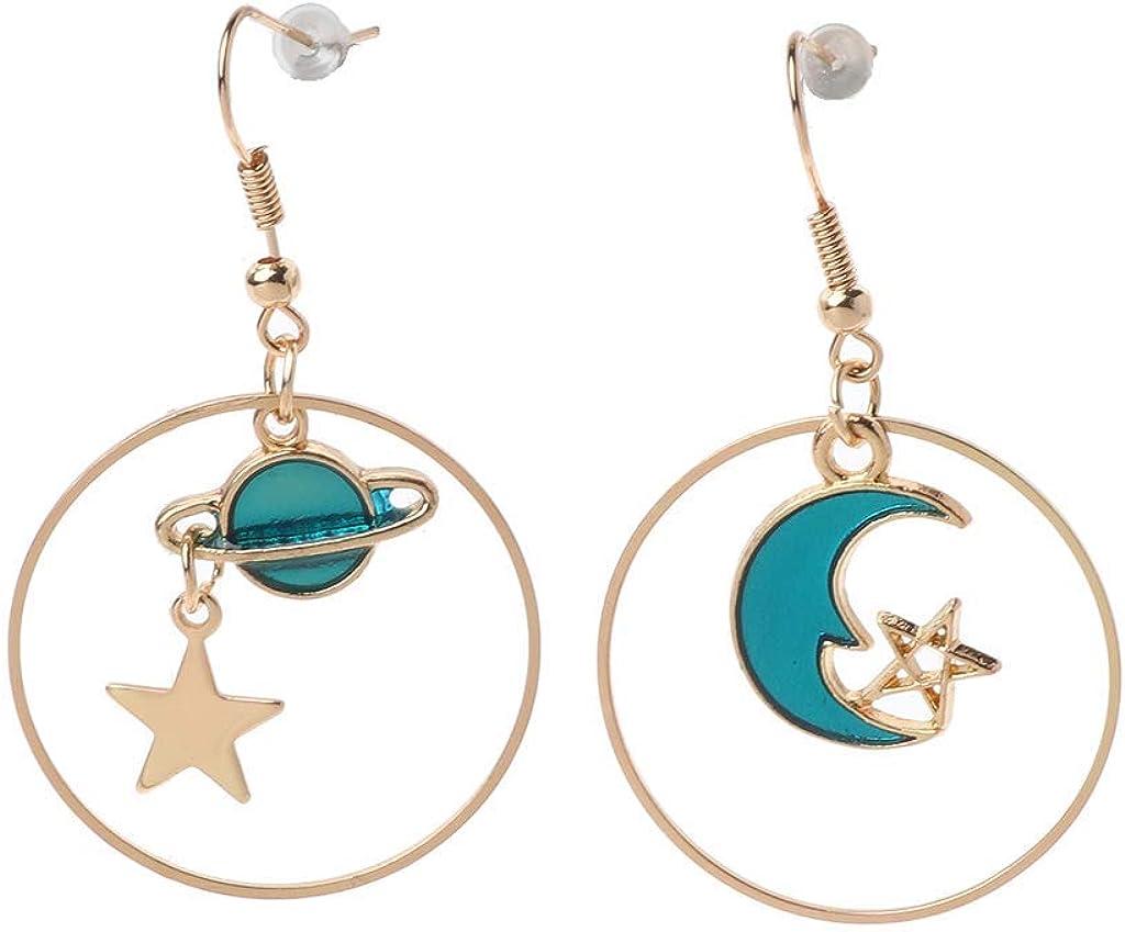 Joyas, Hermosa Perforación De La Oreja, Stud Pendientes, Earrings, Blue Planet Moon Star Mismatch Long Chain Drop Earrings Women Jewelry E