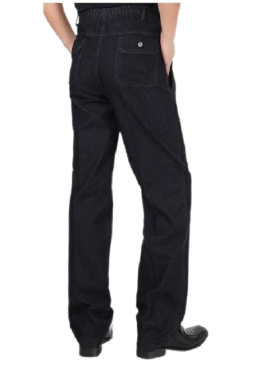 Tootless-Men Thickened Straight Elastic Waist Denim Pants Loose Jeans