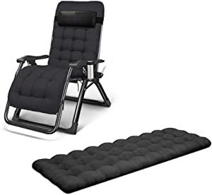 TCZ1557 Sun Lounger Cushion Pad,Thick Padded Seat Cushion Breathable Chair Booster Cushion Garden Home Office Chair Padded (Cushion Only),Black,64