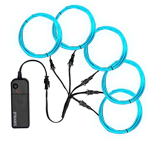Zitrades EL Wire, Portable Neon Lights EL Wire Ice Blue 5 by 1 Meter/ 3ft, Neon EL Wire Kit for Parties, Blacklight Run, DIY Decoration ()