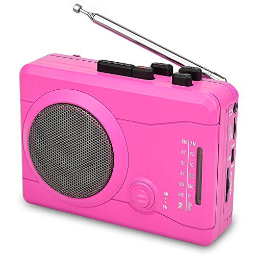 ayer,Personal Walkman Tape and Voice Recorder for Convert Cassette Tape to MP3 Via USB& Digital Audio Music to Tapes with Wireless AM/FM Radio,MIC in and Earphone(Pink) ()