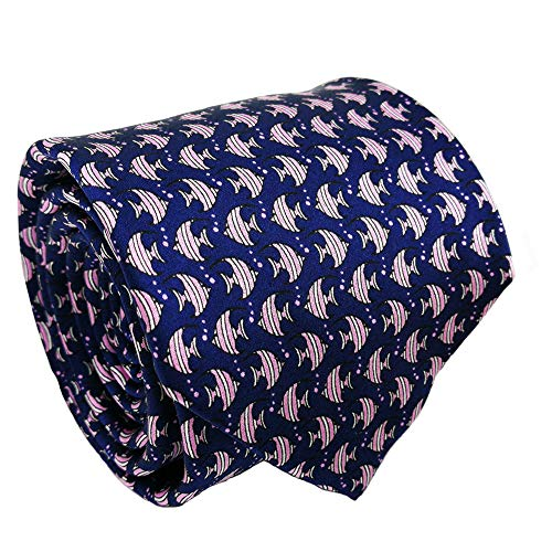 - Mens ties silk Necktie men Neck Tie gift boxes luxury Navy slate blue pink fish by Qobod (ST095)