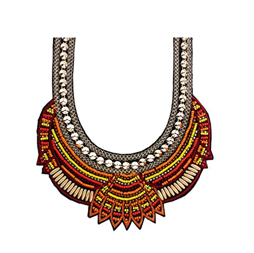 2018 women bohemian necklace&pendants african multicolor statement resin ethnic choker Indian (Brown)