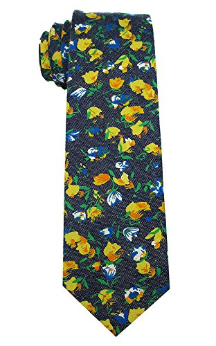 (Kebs Basic Mens Cotton Necktie Skinny Tie for Men - Navy Blue and Yellow Floral Print)