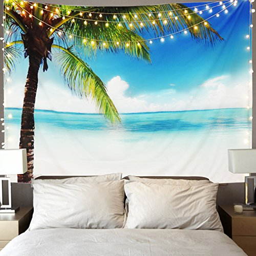 Martine Mall Tapestry Wall Tapestry Wall Hanging Tapestries Ocean Tapestry Exotic Hawaii Beach Water and Coconut Palm Tree by The Shore Wall Hanging for Bedroom Living Room ()
