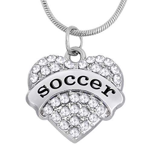 Kebaner Football Soccer Silvertone Heart Pendant Necklace Sports Fan Medal Gifts Jewelry For Teen Women Heart Medal Pendant Necklace