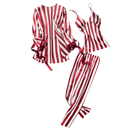 (Xinantime- Women's Three Sets of Pajamas Satin Pajamas Set Silk Sleepwear Sexy Sling Nightwear Gift Lingerie Set Wine)
