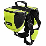 BUYITNOW Adjustable Dog Backpack Harness Medium Pet Saddlebag for Hiking Outdoor Travel, Green