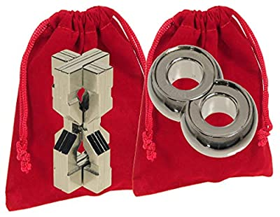 Hourglass & Infinity Hanayama Puzzles, RED Velveteen Pouches - Bundled Items