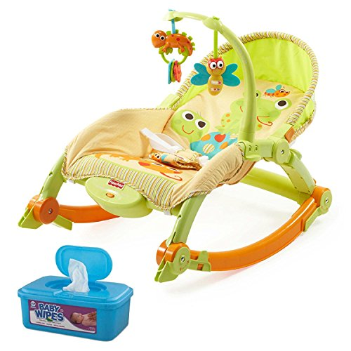 Fisher-Price Newborn to Toddler Portable Rocker Plus BONUS Hypoallergenic, Unscented Baby Wipes, 128 Count (Fisher Price Apptivity Gym)