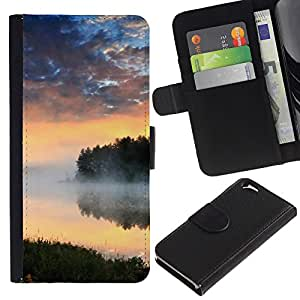 EJOY---La carpeta del tirón la caja de cuero de alta calidad de la PU Caso protector / Apple Iphone 6 / --Naturaleza Lago Niebla