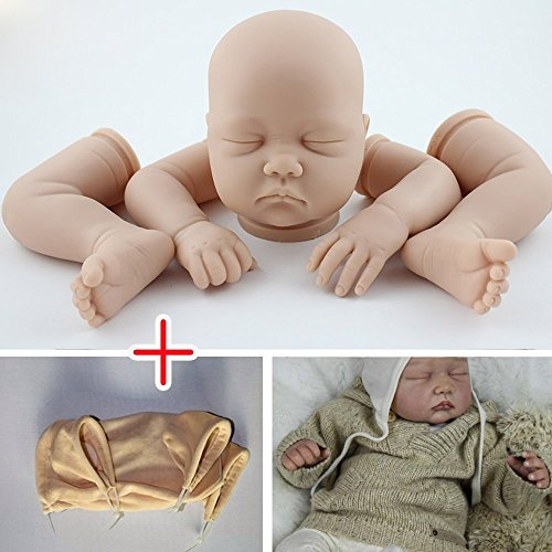 Unpainted Reborn Doll Kits(head,limbs,cloth body) Soft Vinyl Newborn Baby Model Set DIY Art,22-Inch Limbs Cloth Body